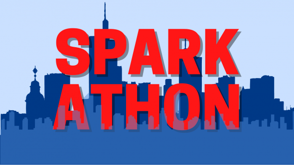 """Red text on a blue background with the Chicago skyline behind it says """"SparkAThon"""""""