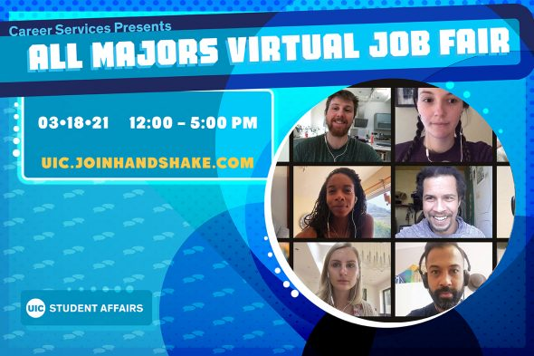 """White text on blue background says """"Career Services Presents All Majors Virtual Job Fair"""""""