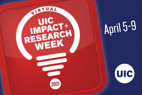 """Text says """"Virtual Impact and Research Week April 5-9"""""""