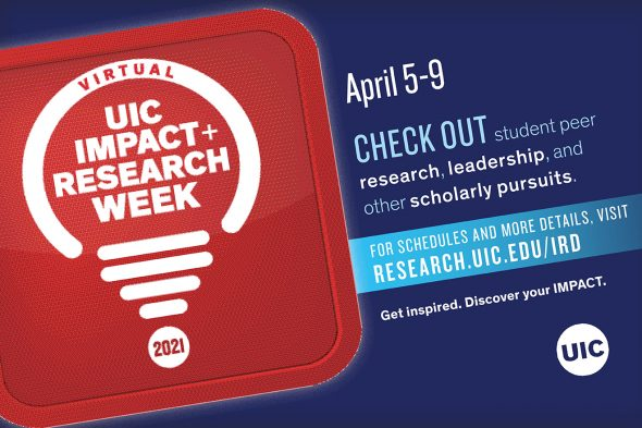 "White text on a red background says ""UIC Impact + Research Week"""