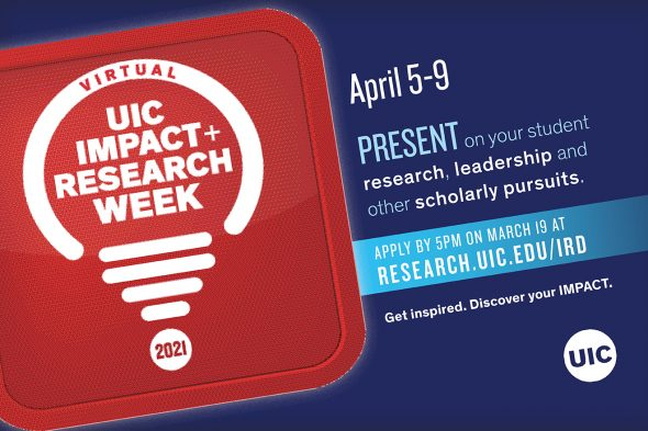 """White text on a red background says """"UIC Impact and research Week"""""""