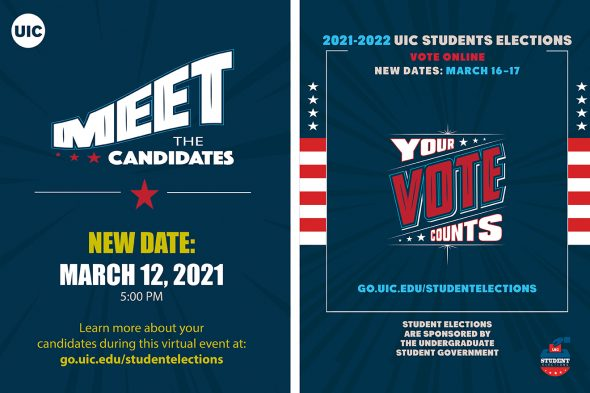 """White text on blue background says """"Meet the Candidates. Your vote counts."""""""