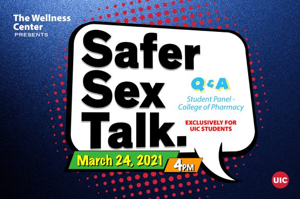 """Black text on a white background says """"Safer sex talk"""""""