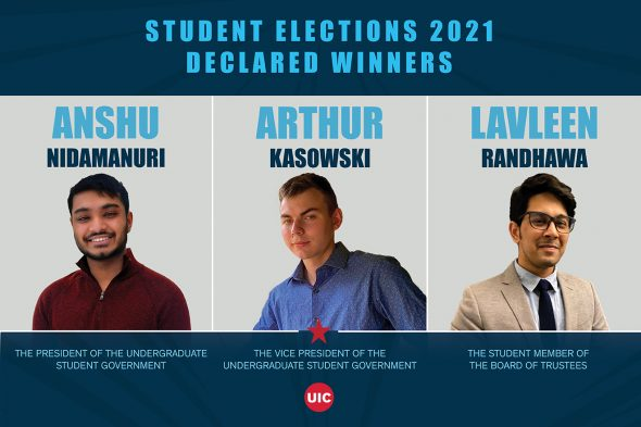 Images of student election winners: Anshu Nidamanuri, Arthur Kasowski and Lavleen Ranhdawa