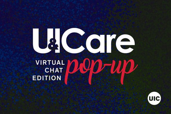 """White text on blue background says """"U & I Care pop-up virtual chat edition"""""""