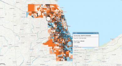 COVID-19 dashboards show range of colors from orange to blue over cities in Illinois and Wisconsin.