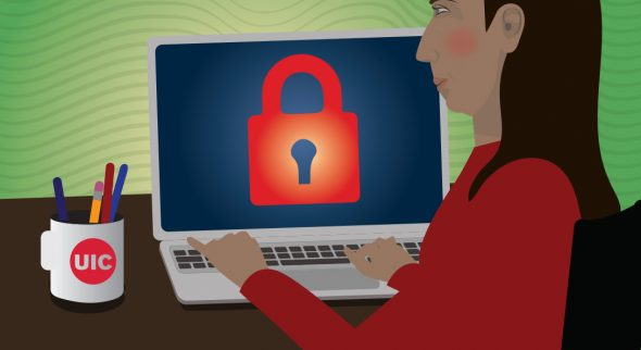 Image shows a cartoon character of a woman with brown hair sitting at a laptop and the screen has a big red lock on it.