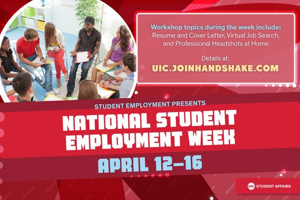 """Image says """"Student Employment Presents National Student Employment Week April 12-16"""""""