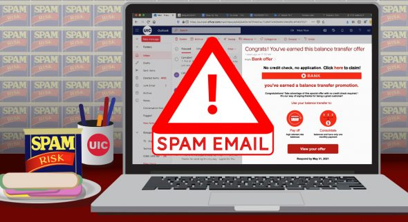 """Laptop with a can of Spam next to it with the text """"Spam email"""""""