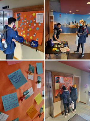"""During finals, UIC Police created a """"Wall of Inspiration"""" for the students residing within UIC residence halls. At each wall location, students were offered a piece of candy with an attached mental health resource card. In return, they were encouraged to write an inspirational or joyful quote to post on the wall for all students to see."""