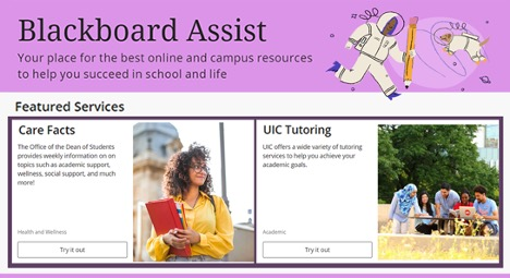 """Text says """"Blackboard Assist: Your place for the best online and campus resources to help you succeed in school and life"""""""