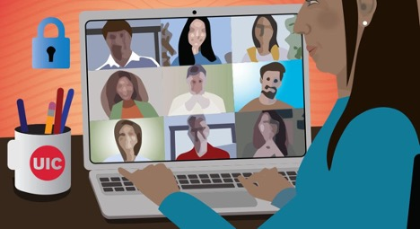 Illustration of a woman on a laptop with 9 other people on Zoom screens.