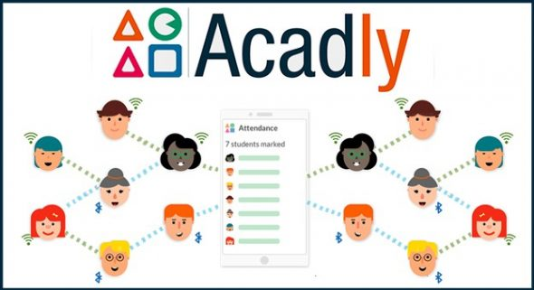 Acadly logo and cartoon images connected by wifi lines