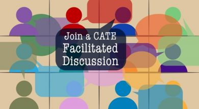 """Text says """"Join a CATE Facilitated Discussion"""""""