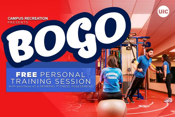 """Text says """"BOGO Free personal training session"""""""