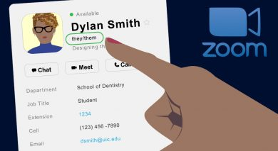 Pronouns feature in UIC Zoom