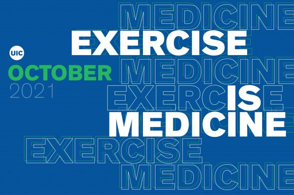 """Text says """"Exercise is medicine"""""""