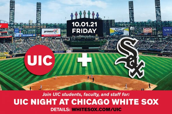 Baseball field with UIC and White Sox logos