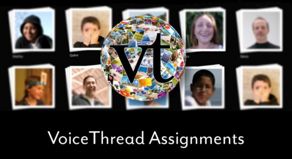 Photos of students with VoiceThread logo